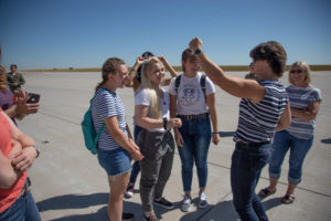 students on landing field